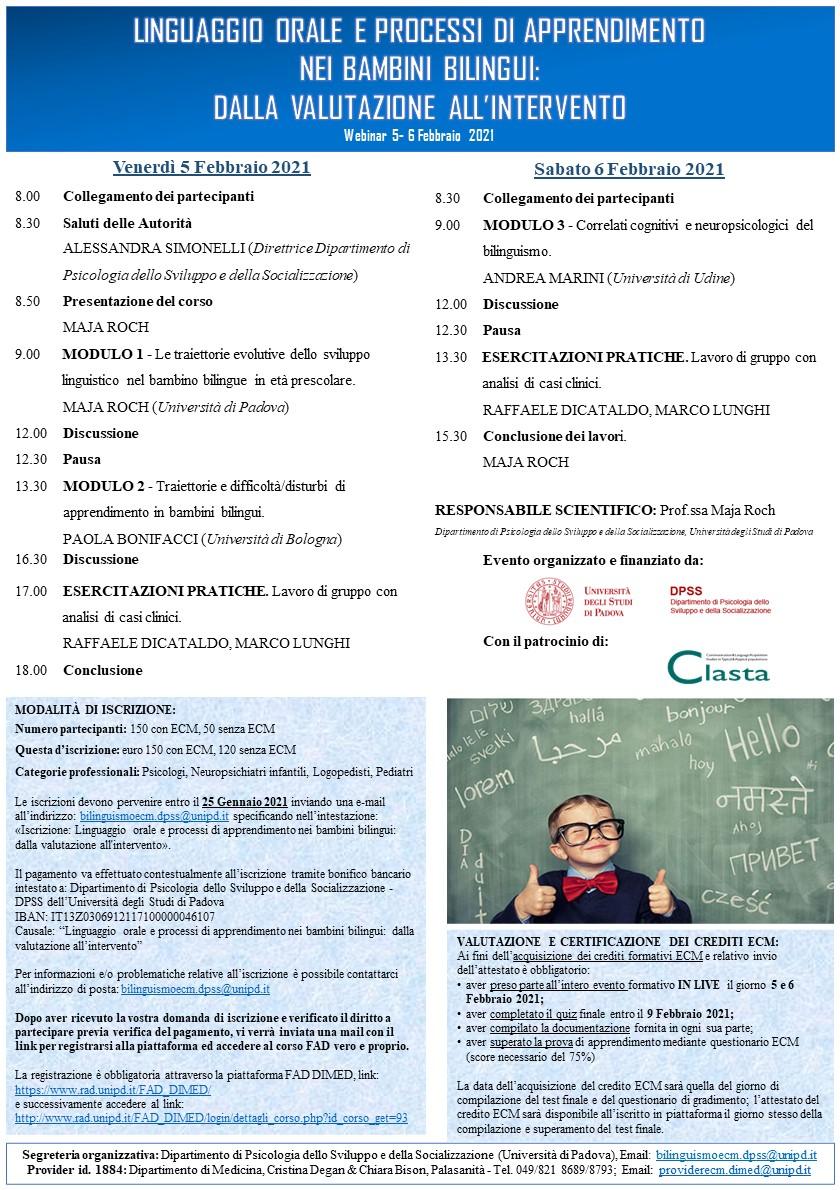 webinar linguaggio orale e processi di apprendimento nei bambini - Università di Padova